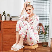 Women Silky Spring Autumn Pajamas Set Sleepwear Print 2PCS Shirt&Pants Home Clothes Casual Nightwear Sleep M XL