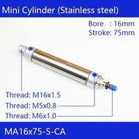 Пневматический воздушный цилиндр из нержавеющей стали MA16 * 75  диаметр отверстия 16 мм  ход 75 мм  MA16X75-S-CA  двойные мини-круглые цилиндры