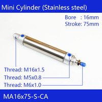 MA16*75 Pneumatic Stainless Air Cylinder 16MM Bore 75MM Stroke  MA16X75 S CA Double Action Mini Round Cylinders|double action|cylinder airpneumatic air -