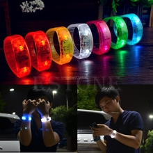 Fashion Party Voice Activated LED Light Glows Bracelet Light Up Flashing Bangles JUN12