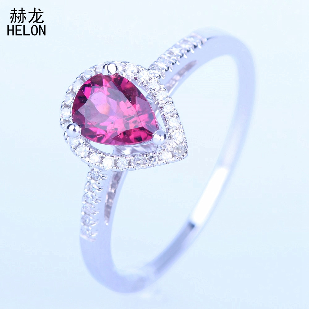 925 Sterling Silver 7X5mm Pear Genuine Tourmaline Ring Wedding Engagement Fine Jewelry Tourmaline & Diamonds Ring Women Elegant925 Sterling Silver 7X5mm Pear Genuine Tourmaline Ring Wedding Engagement Fine Jewelry Tourmaline & Diamonds Ring Women Elegant