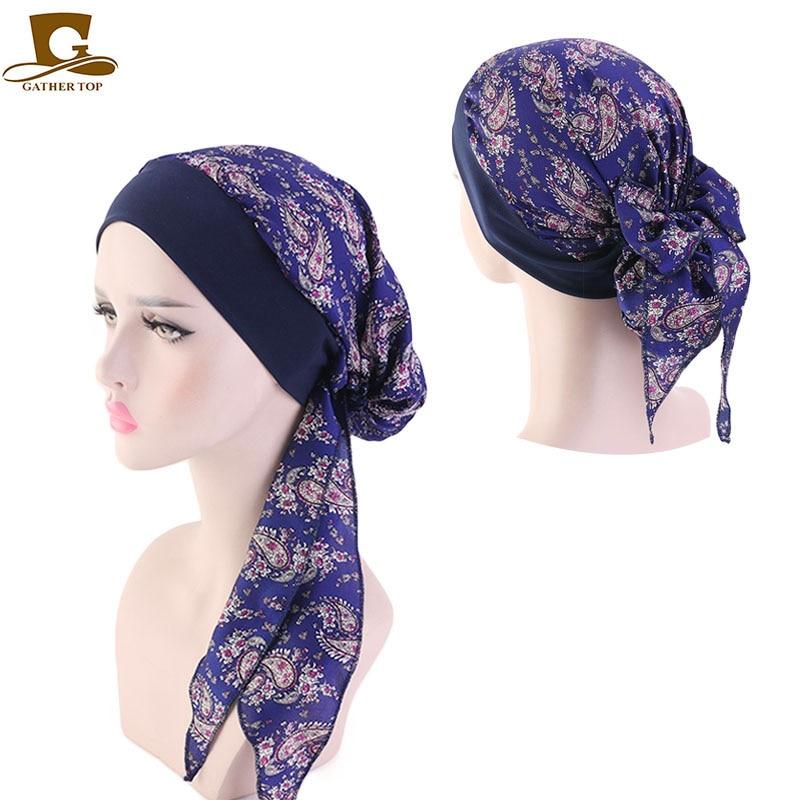 New Wide Band Muslim Women silky bonnet headwrap Scarves Pre-Tied Cancer Chemo Beanies   Headwear   Head Wrap Hair Accessories