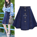 4xl plus size saias das mulheres 2016 primavera verão coreano do vintage vestido denim saia jeans de alta cintura fina saia jeans feminino A1634