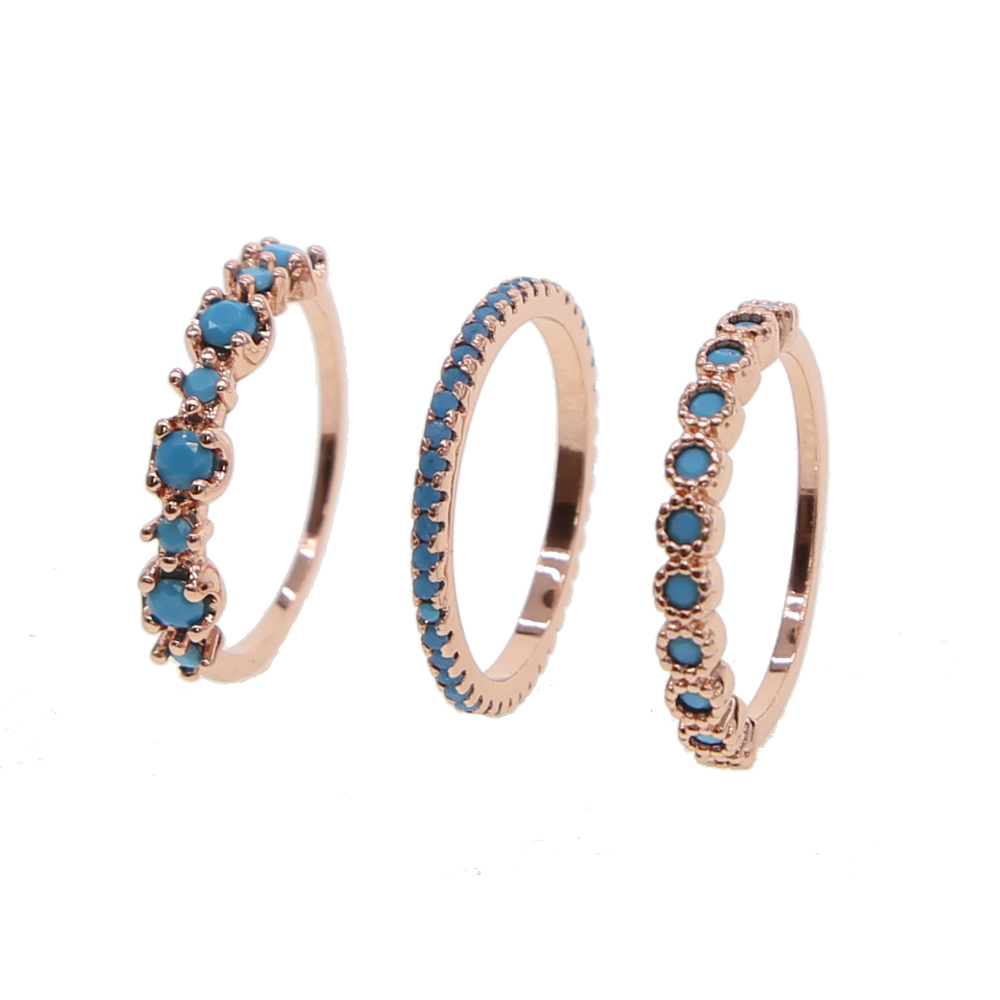 top quality 3 pcs Women's Ring jewelry Rose Gold Color with light blue cz For Female girl lady round dots midi ring sets 2018
