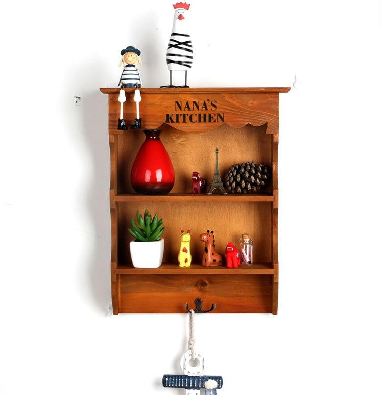 1PC 3 Lattices Solid Wooden Shelf Wall Wood Hanging Storage Rack Sundry Box Sorting Racks Organizer JL 0943