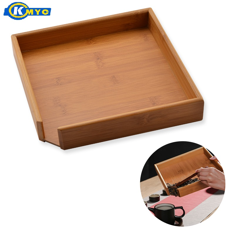 KMYC Bamboo Tea Serving Square Tray Kungfu Tea Table Server Platter Storage Serving Plate Tea Making Accessory Tea Drinking