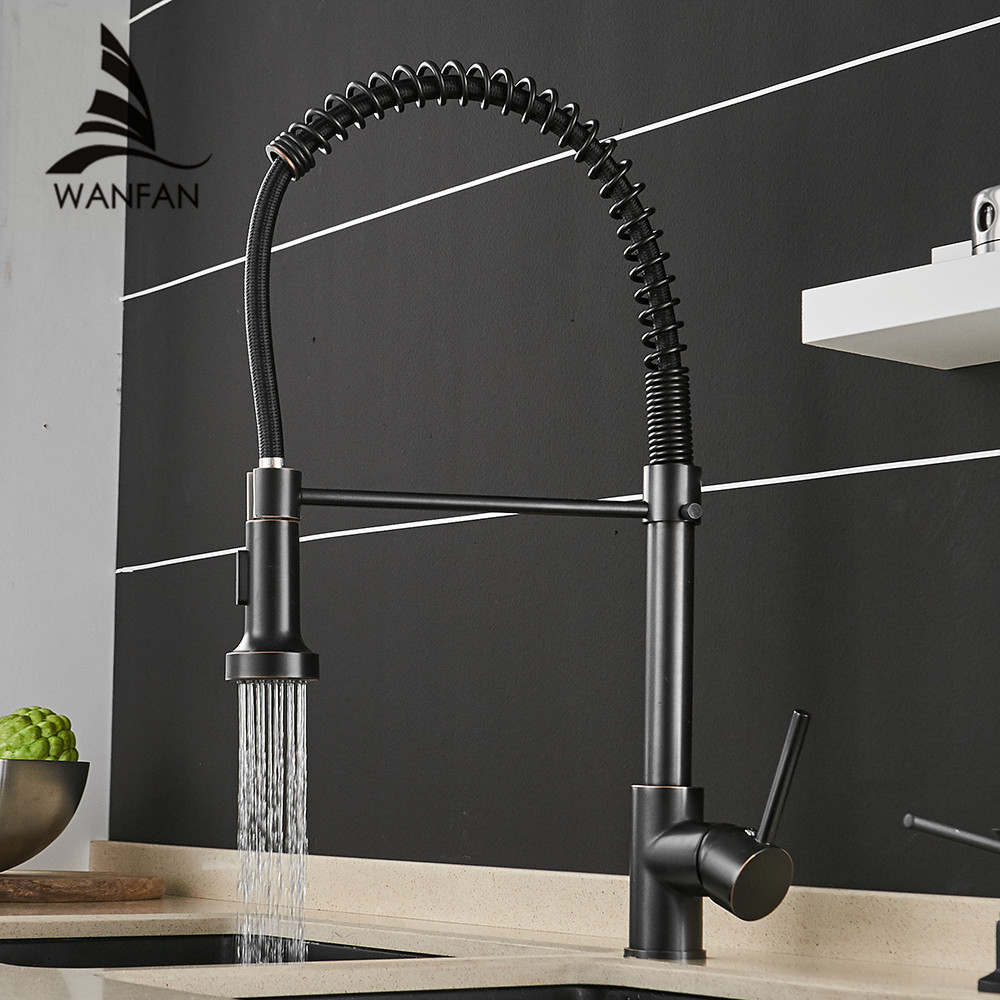 Kitchen Faucets Black Bronze Faucets for Kitchen Sink Single Lever Pull Out Spring Spout Mixers Tap