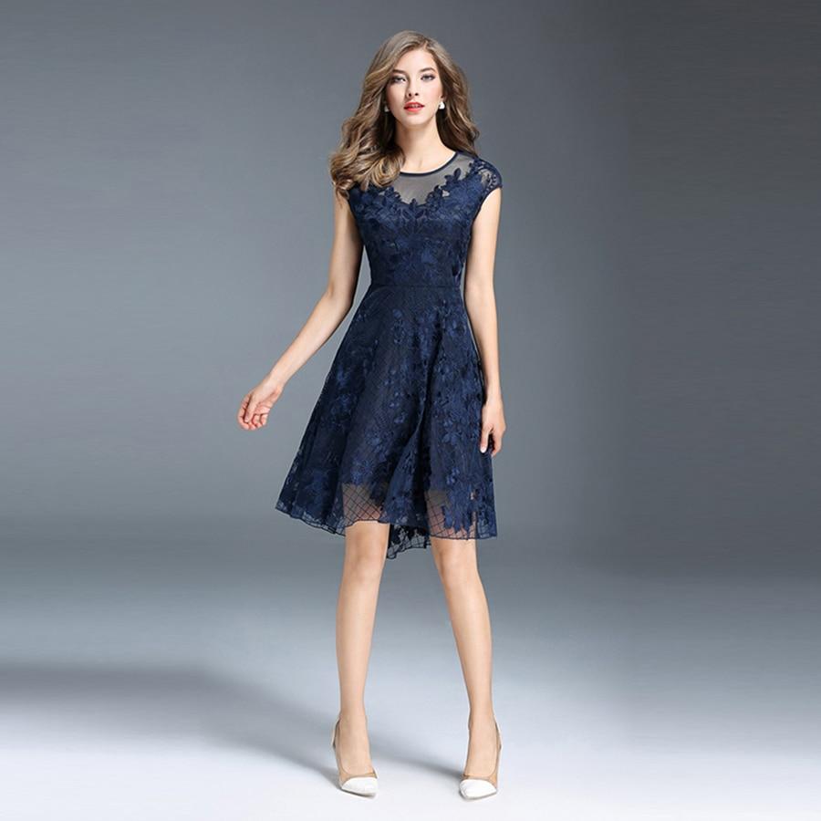 Navy short lace mini summer dress dresses elegant party vestidos brand - Navy Blue Hollow Out Lace Dress Women Plus Size Ladies Summer Party Dresses Maxi Vestido De
