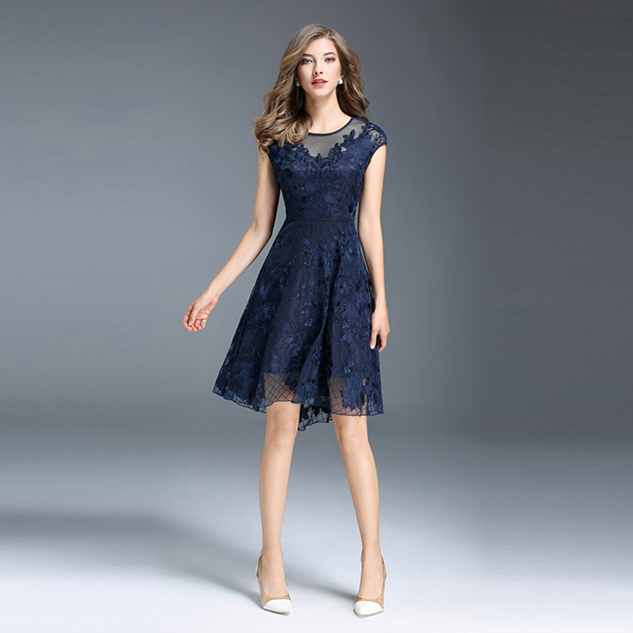 Navy Blue Hollow Out Lace Dress Women Plus Size Ladies Summer Party ...