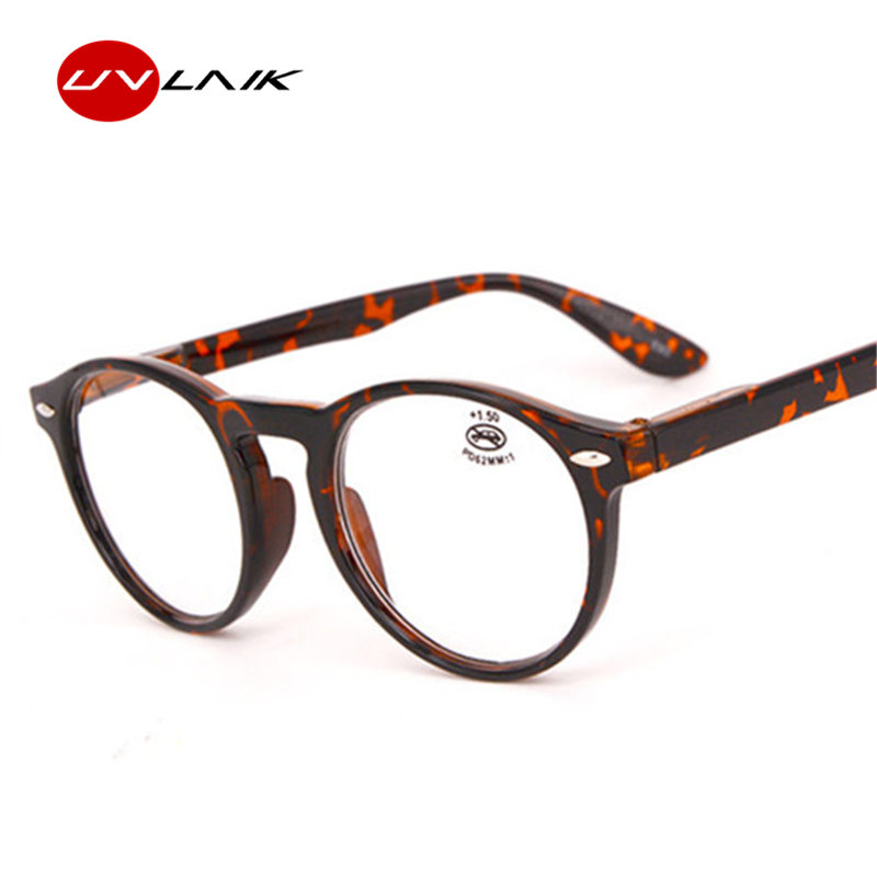 UVLAIK Fashion Round Reading Glasses Men Women Retro Red Blue Black Spectacles Eyeglasses Vintage Ultralight Glasses Frame
