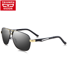 TRIUMPH VISION TAC Polarized Sunglasses Driving Anti Glare Lens Shades High Quality Metal Shades Fashion Pilot Sun Glasses Male