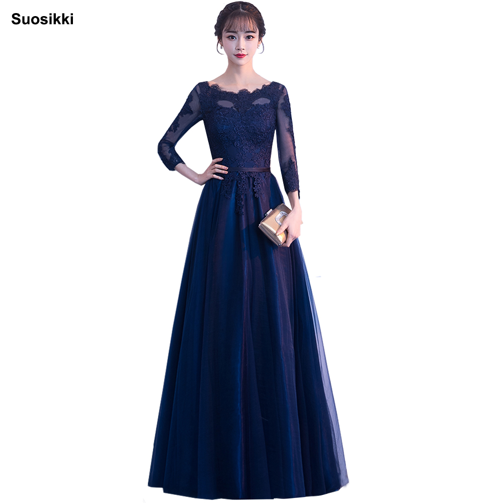 Suosikki Elegant Red Lace Long Prom Dresses  Half Sleeve Evening Party Gwon Tulle Dress Robe De Soiree