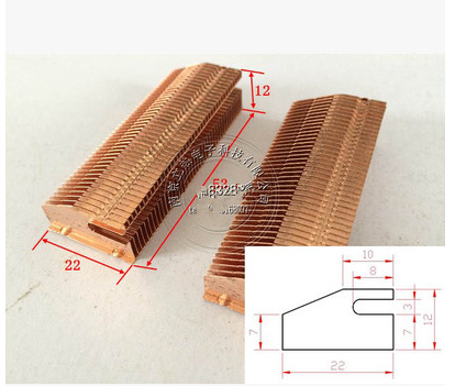 53*22*12mm Copper Heat Dissipation Fin Thermal Conductivity Brass Fin Radiator Pipe Copper Heatsink Heat Dissipation Copper Fins