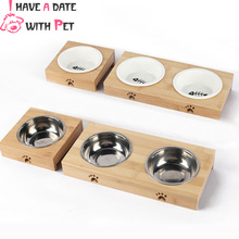 Small Dog Cat Feeder Bowl With Bamboo Frame single Double Kitty Puppy Chihuahua Food Water  Ceramic Stainless Steel