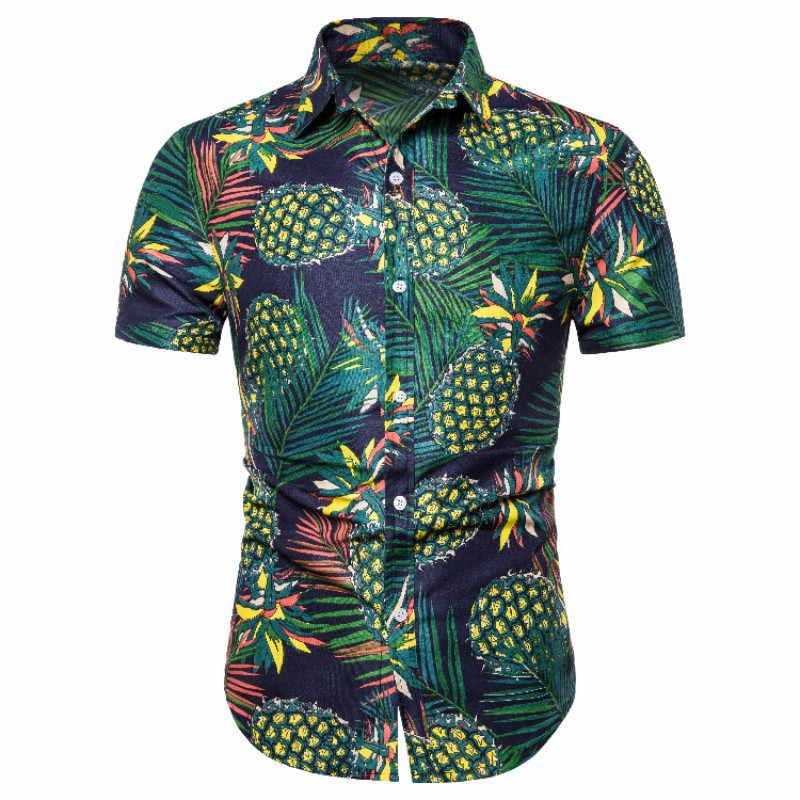 はアロハシャツメンズ男性カジュアルカミーサ masculina プリントビーチシャツ半袖ブランド服送料無料