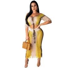 Two-Piece Suit Female Cutout Sexy Fashion Grid Tassel Perspective Women Set Summer Beach Crop Top + Long Skirt Bodysuit Playsuit