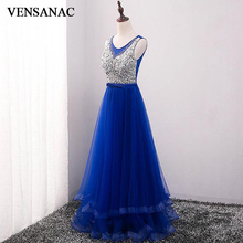 VENSANAC 2018 O Neck Bow Sash A Line Long Evening Dresses Lace Tank Crystals Sequined Backless Tulle Party Prom Gowns