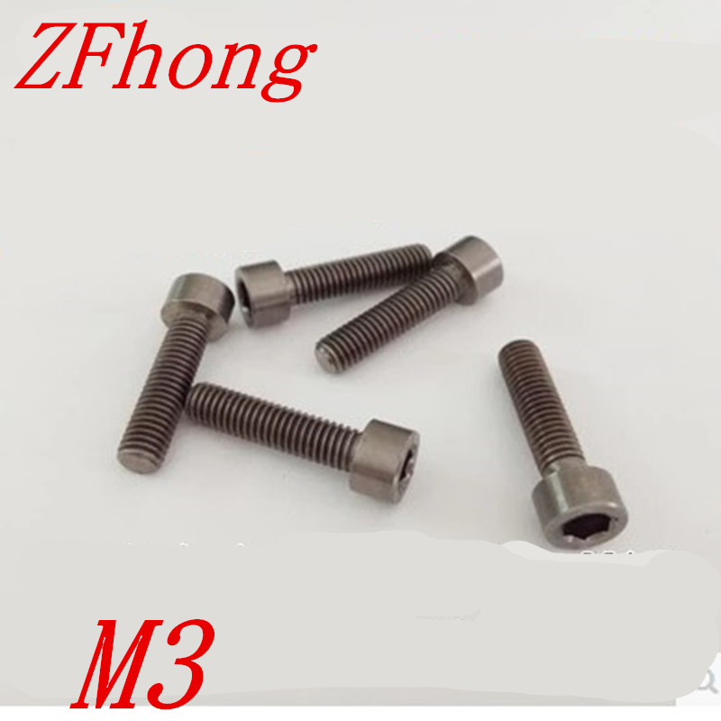 все цены на 30pcs M3*8/10/12/15/20/25/35/30/35/40 pure titanium TA2  hex socket cap head screw