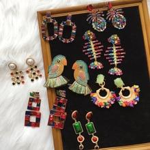Ztech ins Za Bohemian Birds Crystal Tassel Big Drop Earrings Women Wedding Girls Party Gift Statement Earring Jewelry