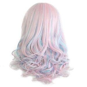 Image 5 - HAIRJOY נשים 70cm ארוך כחול מעורב ורוד גלי קלוע 2 קוקו סינטטי מסיבת פאת קוספליי 30 צבעים זמינים