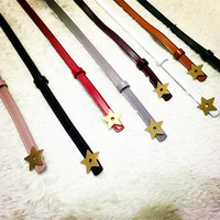 Little Meteor Star Thin Belts Real Leather Belt 2017 New Arrival Pink White Black Brown Red