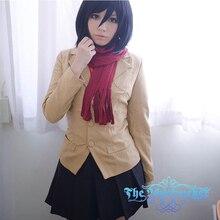 Japón ataque de dibujos animados sobre titan mikasa ackerman cos ropa traje femenino trajes de cosplay de anime japonés uniforme escolar para las niñas