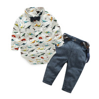 Autumn Kids Clothes Set Boys Suit Dinosaur Bodysuits Jean Bibs Pant 2PCS Set New Children Clothes