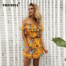 eeeaea03ae23 VIEUNSTA New Floral Print Ruffles Short Jumpsuits Women Sexy Off Shoulder  Playsuits Rompers Summer Chiffon Yellow Beach Overalls