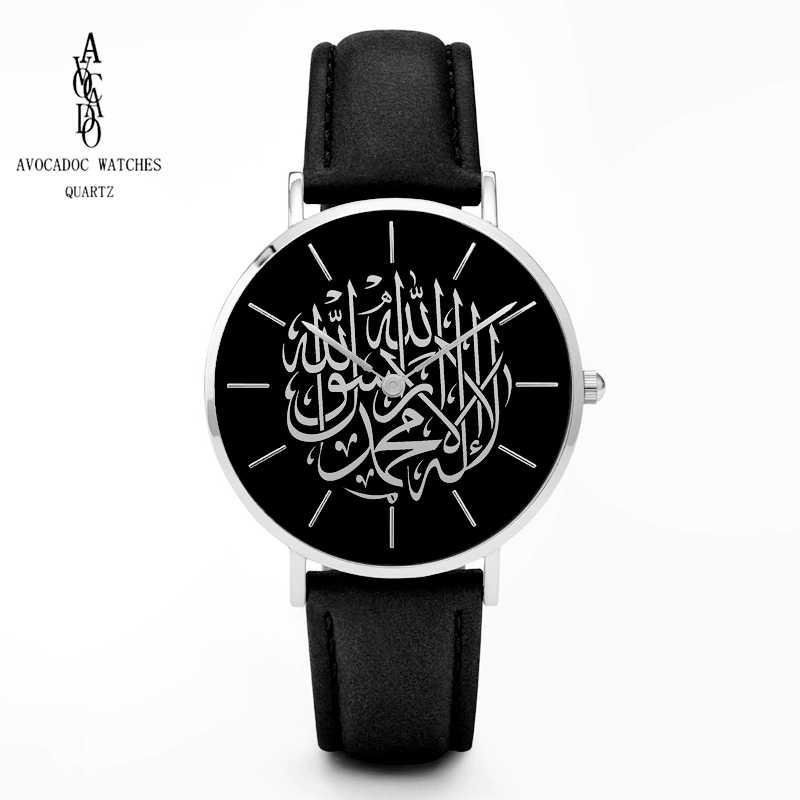 AVOCADO 2019 Men's Watches Black arabic watch Leather strap Reloj ...