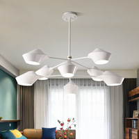 Дизайнер Nordic филиал люстра Подвески акриловые абажур Регулируемый повесить лампа светильник Кухня River Island бар домашнего декора люстры