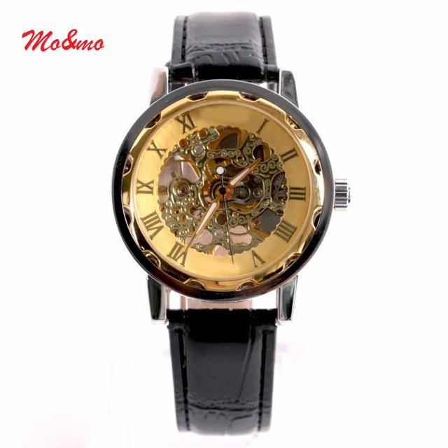 Ouro Dos Homens clássicos Dial Esqueleto Esporte Exército Relógio de Pulso Mecânico de Couro Preto
