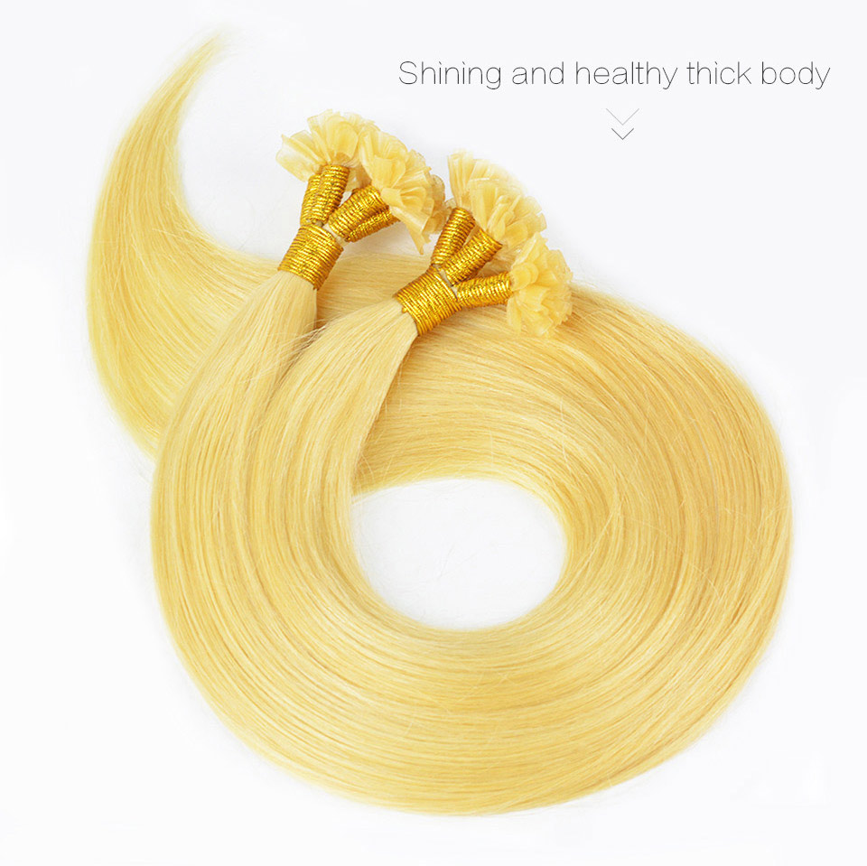 European Remy Hair Extension Blonde Straight Nail/U Tip Human Fusion Hair, 0.5g/strand, 100strands/lot, Free Shipping