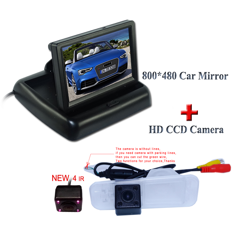FOR CAR parking camera with IR light +4.3 Foldable lcd hd car monitor use for Kia K2 Sedan include 800*480 screen+glass lens