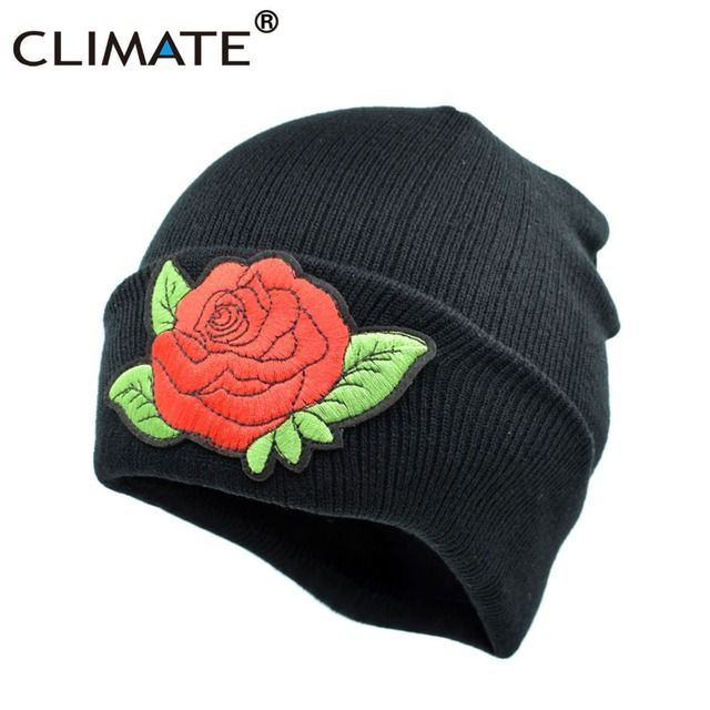 f8858a18d45 CLIMATE Women Rose Beanie Hat Winter Warm Flower Lady Nice Rose Hat Warm  Knitted Beanies Hip Hop Hat Cap For Adult Girls