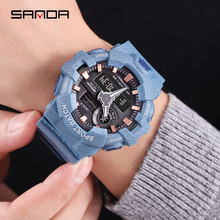 SANDA New Watch 30 Meters Waterproof Depth Outdoor Sport Men Popular Luminous Effect Denim Multifunction Sports