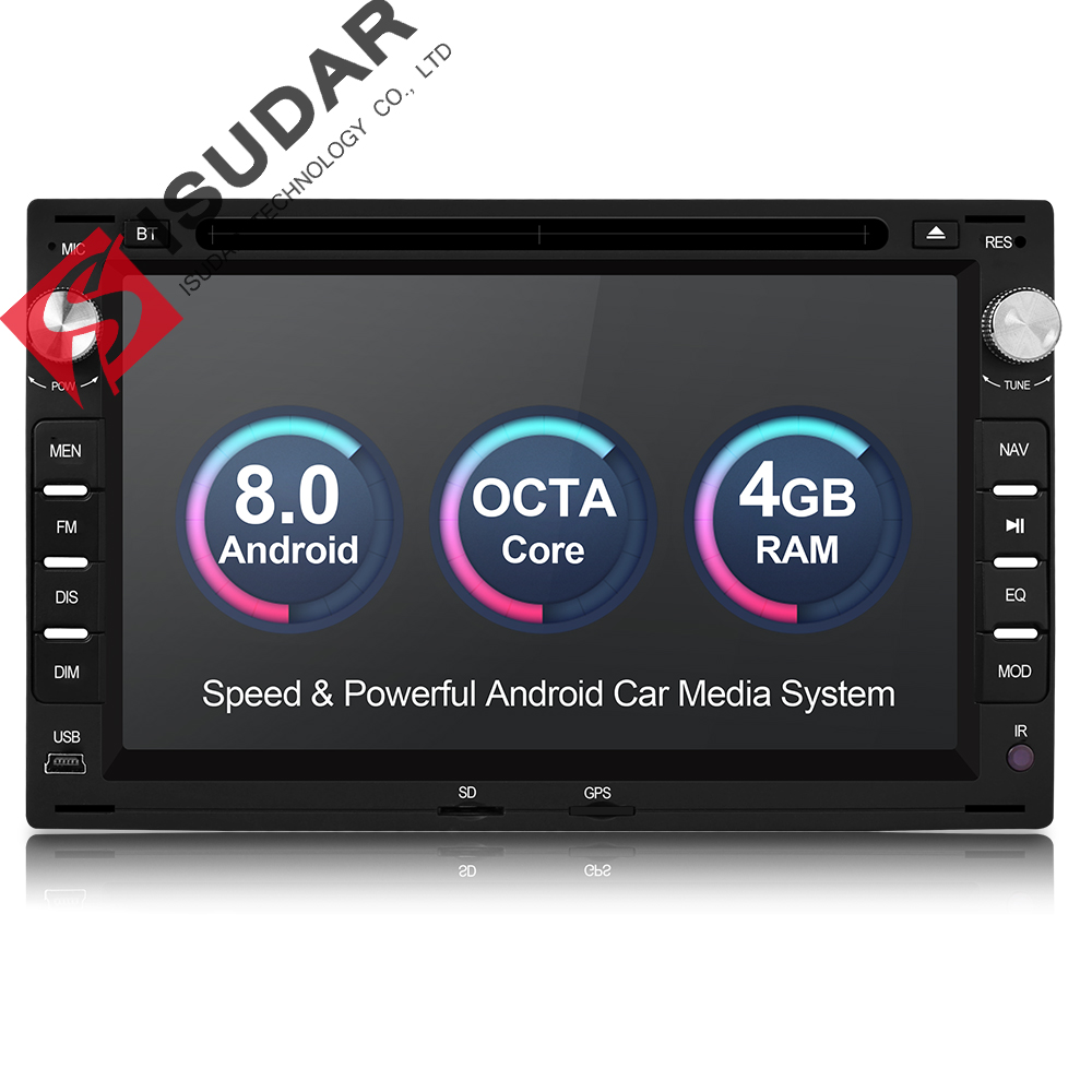 Isudar Sistema di Auto Multimedia Player Android 8.0 2 Din Stereo Per VW/Volkswagen/Passat/Golf/Skoda octa Core 4 GB di RAM Wifi USB DVD
