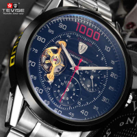 Tevise Brand Fashion Mens Watches Automatic Mechanical Watch Tourbillon Self Wind Clock Stainless Steel Luxury Wristwatch