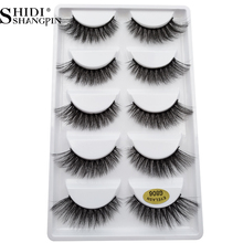 SHIDISHANGPIN 5 Pairs Mink False Eyelashes Natrual Long 3D Lashes Thcik Faux Cils Soft Makeup Full Strip G806 Kit
