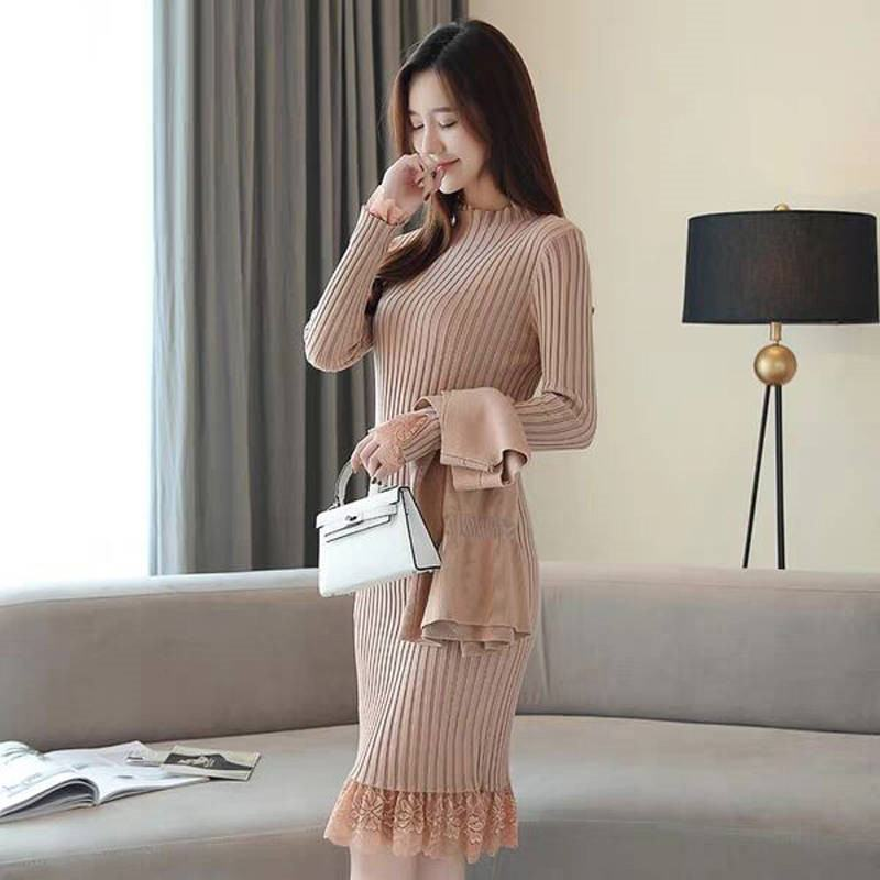 Women Dress Set 2019 Autumn Winter V-neck Tricot Vest Bottoming Sweater Tops Turtleneck Lace Knitted Dress Two-piece Set K237