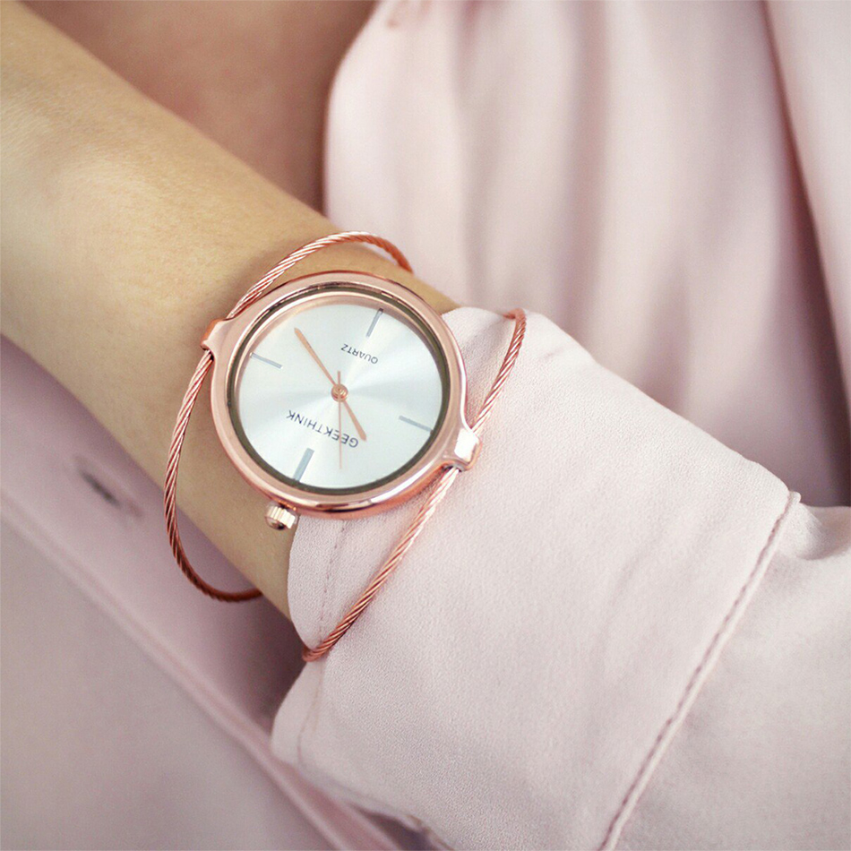 GEEKTHINK Metropolitan Fashion Luxury Brändi Quartz Watch Naiste Käevõru Daamid Rose Gold Girls naissoost terasest bänd vabaaja Uus