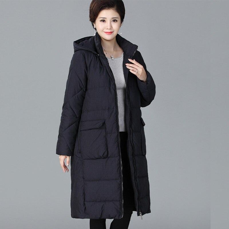 Taille Manteau Capuchon 2018 Parkas Plus Long Mère Lâche Femmes Coton Épais Veste Femme Noir Moyen 4xl D'âge À Chaud Hiver rouge La qHBwq0O