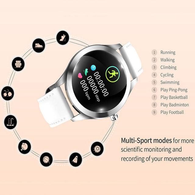 2019 Fashion Smart Watch Women KW10 IP68 waterproof Multi-sports modes Pedometer Heart Rate Fitness Bracelet for Lady