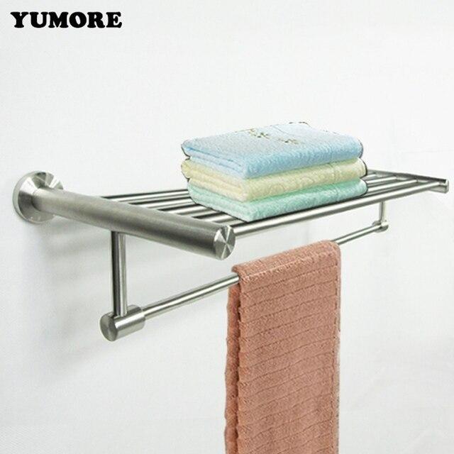 YUMORE Stainless Steel Bath Towel Rack Shelf Fixed Bath Towel Holder ...