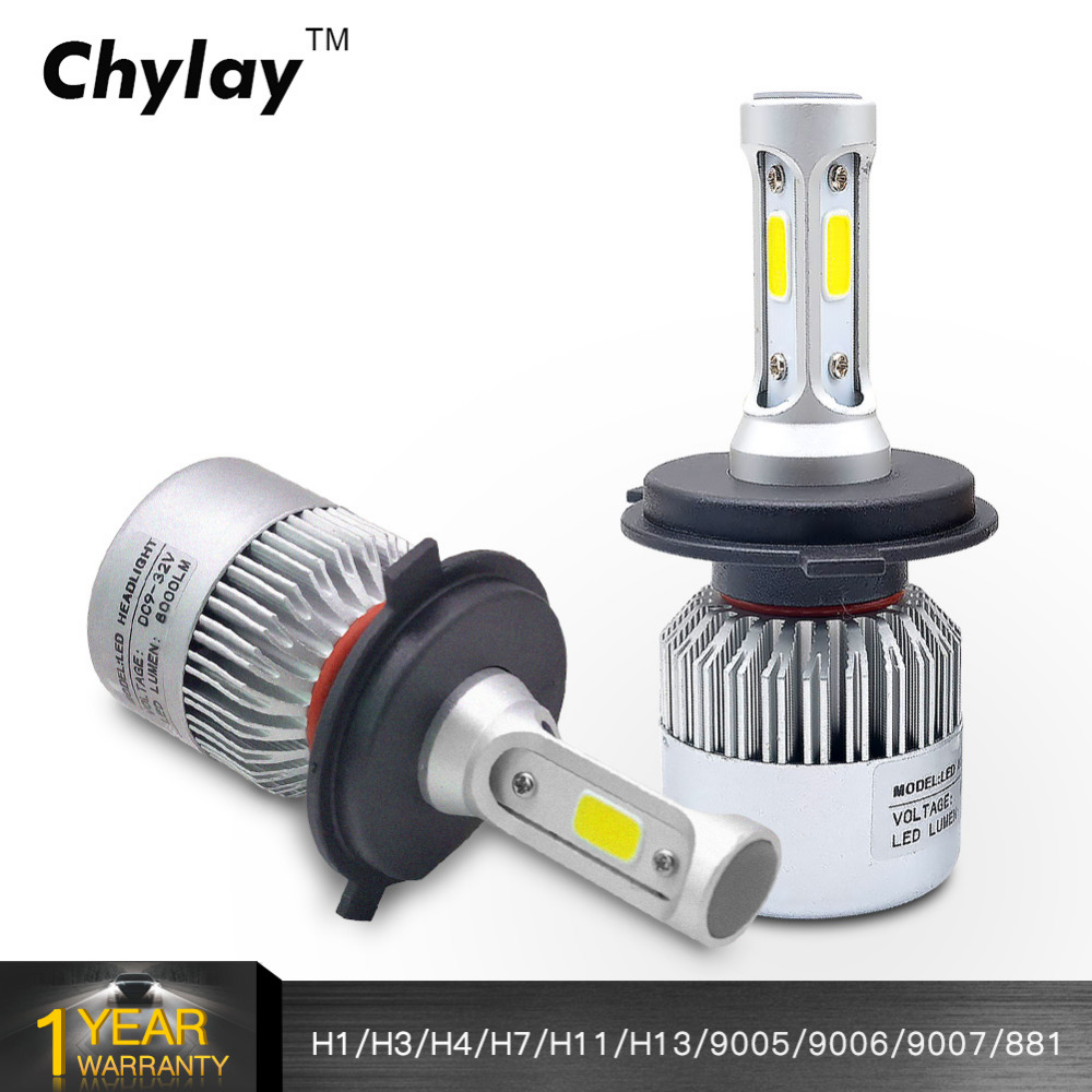 One Set S2 H7 H4 Led H11 H1 H3 H13 9005 9006 9007 LED Headlight Bulb 72W 8000LM 6500k Auto Car Headlamp Fog Light Bulbs 12V 24V 2x car led headlight 12v 24v 72w 8000lm 6000k light cob bulbs automobile headlamp h1 h3 h4 h7 h8 h11 9005 9006 9004 880 9007 h13
