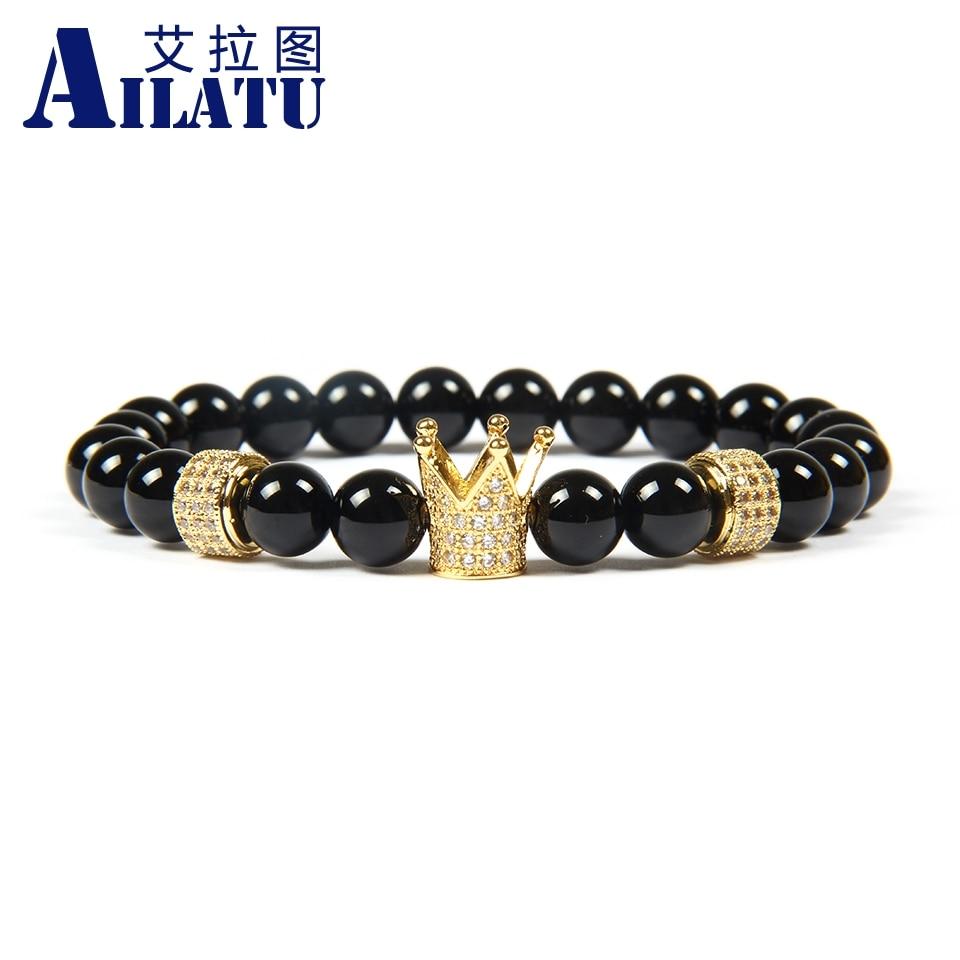 Ailatu Men s Jewelry Wholesale 8mm A Grade Black Onyx Stone Beads with White Cz Cylinders