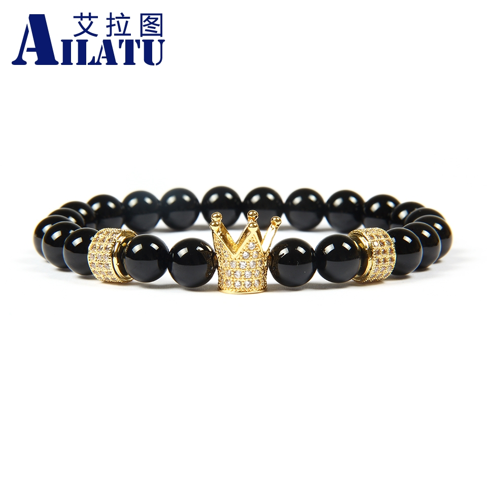 Ailatu Men's Jewelry Wholesale 8mm A Grade Black Onyx Stone Beads with White Cz Cylinders Imperial Crown & Stoppers Bracelets-in Strand Bracelets from Jewelry & Accessories    1