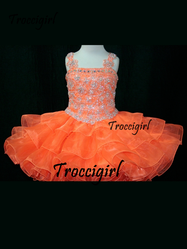 120 (1) Tank Style Little Rosie Toddler  Ball Gown Flower Girl Dresses With Spaghetti Strap Beaded Organza Short Pageant Dresses Zipper Up