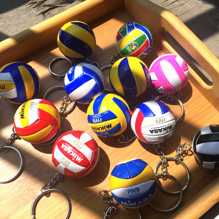 Mini PVC Volleyball Keychain Sport Key Chain Gift Car Ball Key Holder Ring For Sports Team For Men Women Keyring Birthday gift