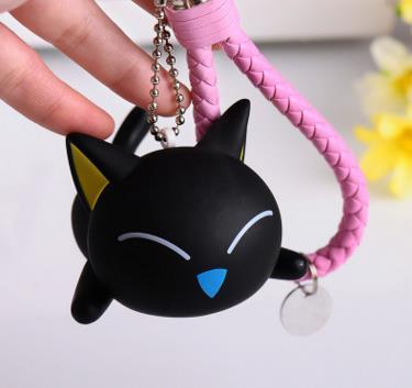 Cute Creative Black Cat Keychain Kitty Rabbit Fur Ball Key Chain Bag  Chaveiro Women Pompom Key Ring Holder Charm Car Pendant dd6bb84f68a77