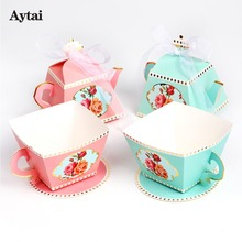 aytai 10pcs wedding baby shower teapot and tea cup candy boxes paper candy gift box tea